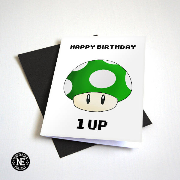 Mario 1 Up Birthday Card