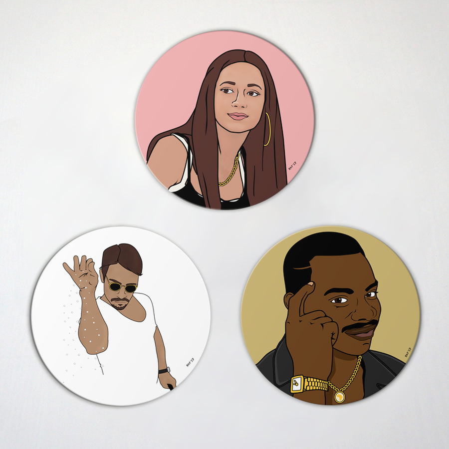 Best of 2017 Memes- 3 Pack Magnet Set - Roll Safe - Salt Bae