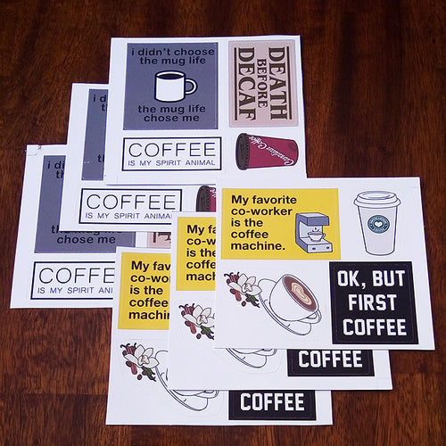 I Love Coffee Sticker Set - Phrases and Art - 6 Pack