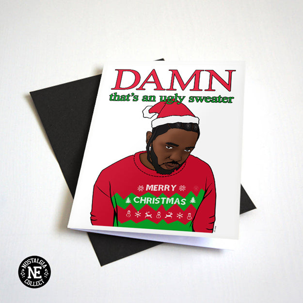 Damn Ugly Sweater Hip Hop and Rap Christmas Card