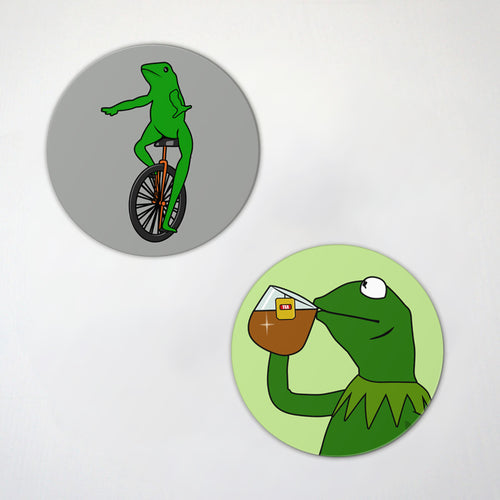 Green Frog Memes- 2 Pack Magnet Set - None Of My Business