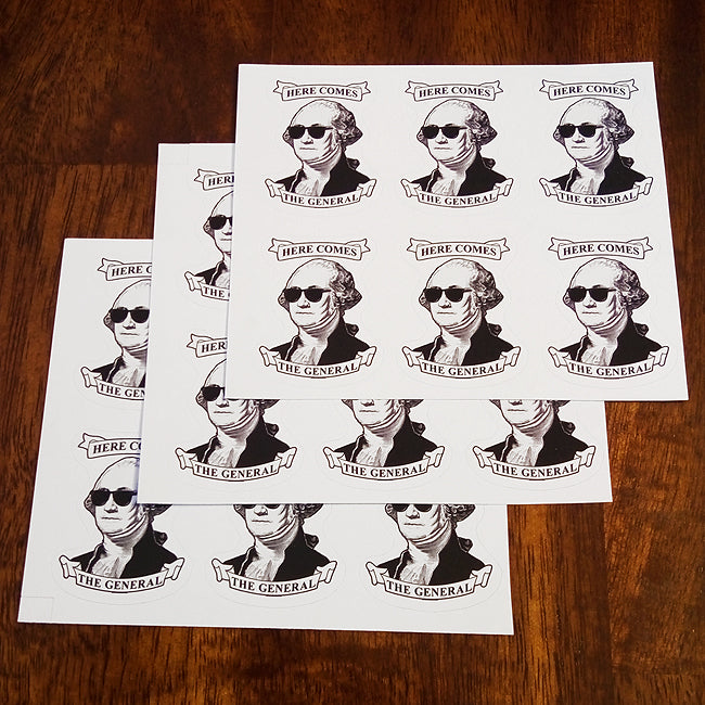Here Comes The General Washington 3-Pack Sticker Set