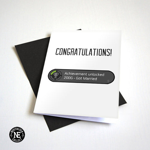 Got Married Achievement Unlocked - Wedding Engagment Card