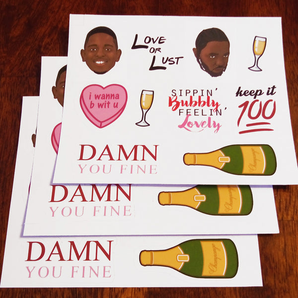Hip Hop Valentine's Day Sticker Set - 3 Pack