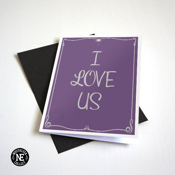 I Love Us - Cute Valentines Card, White & Purple Anniversary Card - A6 Love Card