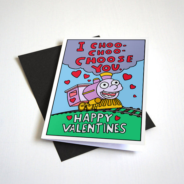 I Choo Choo Choose You - Cute Train Valentine's Day Greeting Card