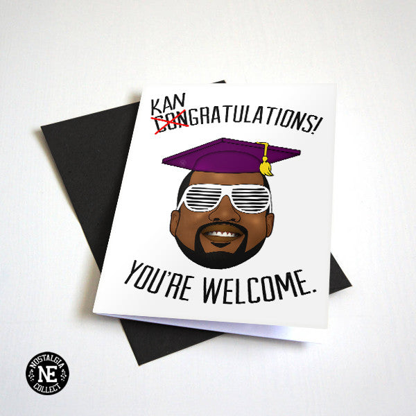Kangratulations You're Welcome - Hip Hop Graduation Card Graduation Cap Hat - A6 Graduation Card
