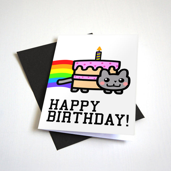 Rainbow Cat Meme Birthday Card