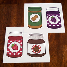 Peanut Butter and Jelly Stickers - 4 Pack