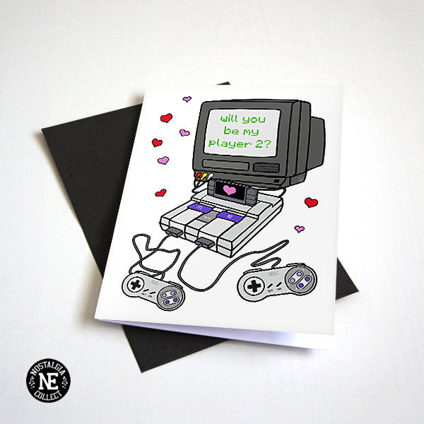 Will You Be My Player 2 - Retro Gamer Valentine's Day Card