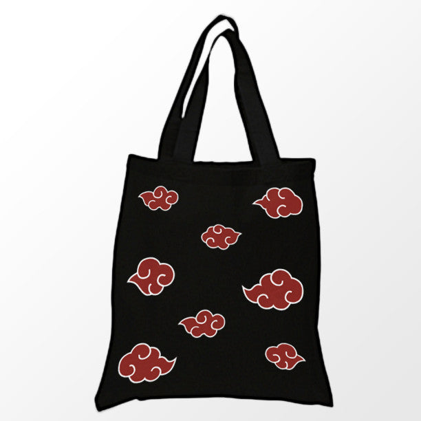 Red Clouds Tote Bag - Black & Red Anime Tote Bag