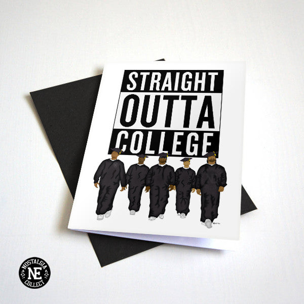 Straight Outta College - College Grad Diploma Congratulations Card - A6 Hip-Hop Graduation Card