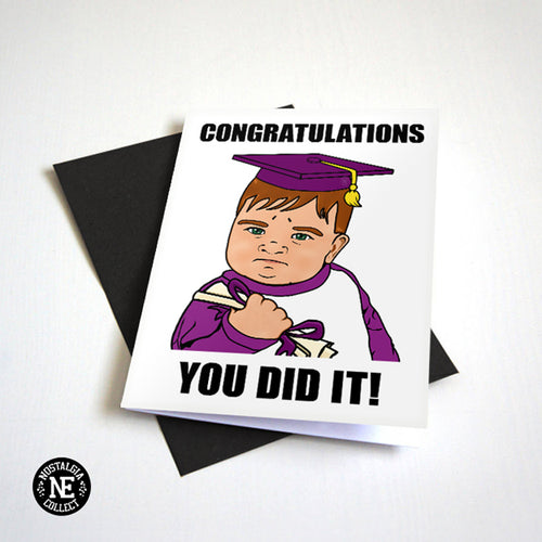 You Did It - Fist Pump Baby Meme Graduation Card