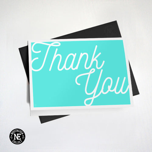 Teal & White Hand Writing Thank You Card