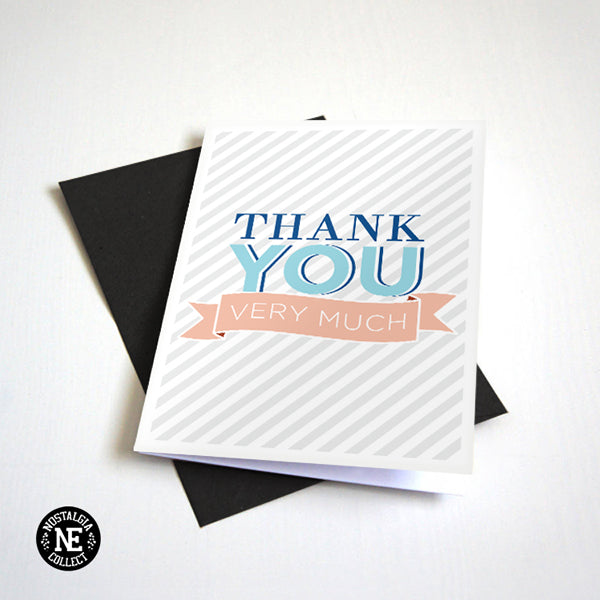 Thank You Very Much - Baby Blue and Peach Thank You Card