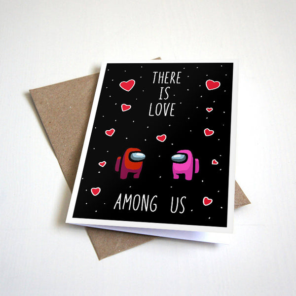 There Is Love Among Us - Cute Outer Space Valentine's Day Greeting Card