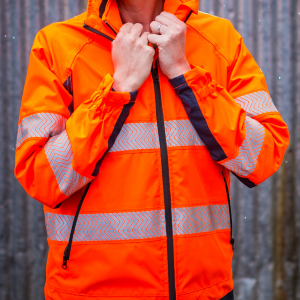 womens hi vis workwear, hi vis orange and navy Jacket and hi vis ladies vest