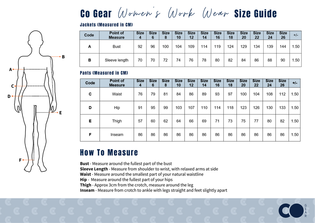 Tradies Hi Vis Womens Workwear Size Chart Industrial Women In Mining