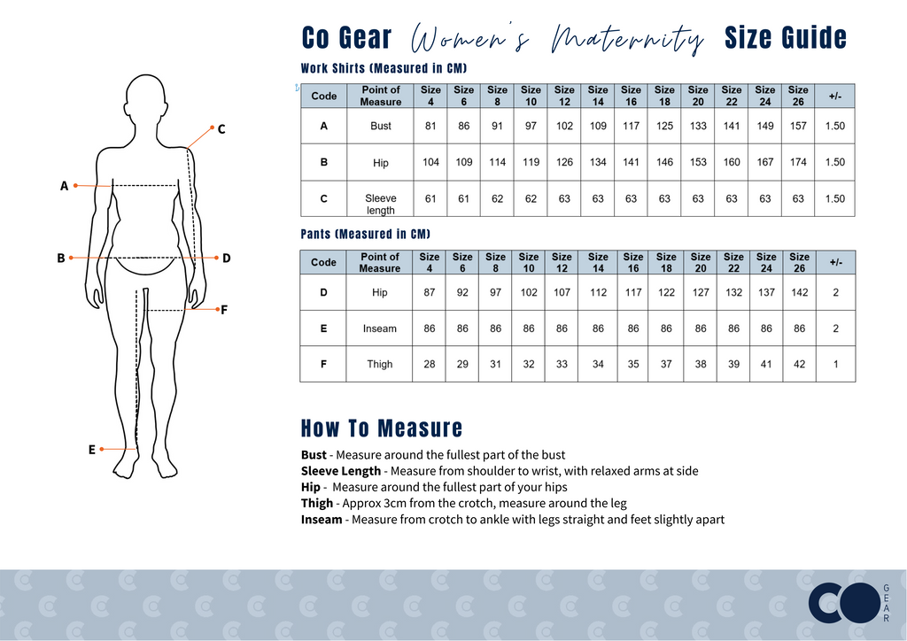 Ladies Hi Vis Maternity Workwear Size Chart Industrial Women In Mining