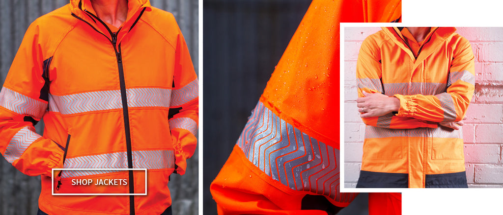 Women's Waterproof 4-in-1 Hi Visibility Orange and Navy Jacket with Removable Hi Vis Vest designed for women working within the heavy industrial and trade vocations