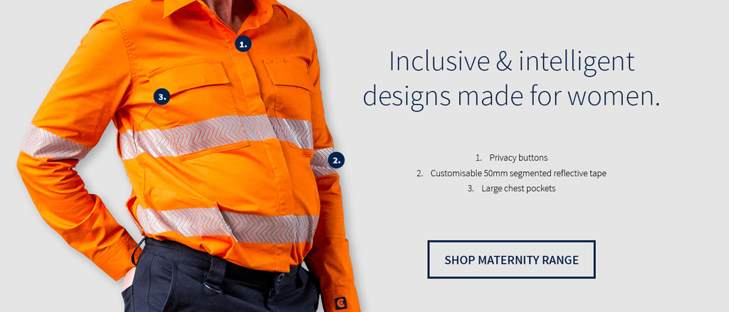Maternity hi vis workwear that is site compliant featuring brushed stretch cotton fabric, underarm & upper back cooling vents, adjustable cuffs, a sun collar, double chest pockets, segmented tape, hidden privacy buttons