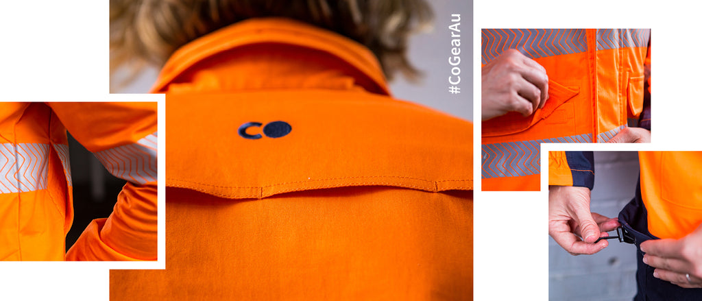 Co Gear workwear has the features women want; Our shirts have privacy buttons at the bust, our pants provide for additional comfort & body shape fluctuations with a waist band that gives the feel of elastic pants, and look of regular cargo pants