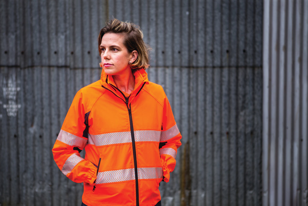 Women's 4-in-1 hi vis Jacket with removable hi vis vest available in orange and navy
