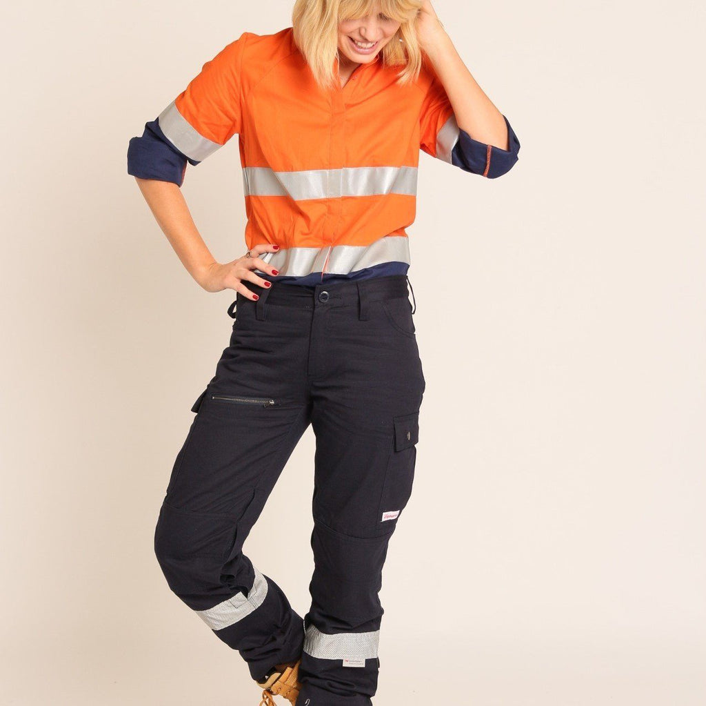 cargo pants for women, navy blue cargo pants, hi vis work pants, women's workwear afterpay, free shipping