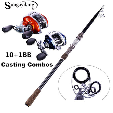 Sougayilang Ultra Light Baitcasting Combos 1.8-2.7M Fishing Rod Pole with Left/Right Hand