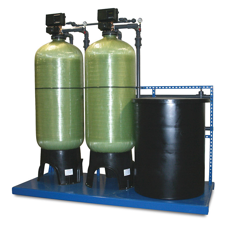 commercial 2 twin alternating water softener system with fleck 2900s 120k to 600k capacity - Commercial Water Softener