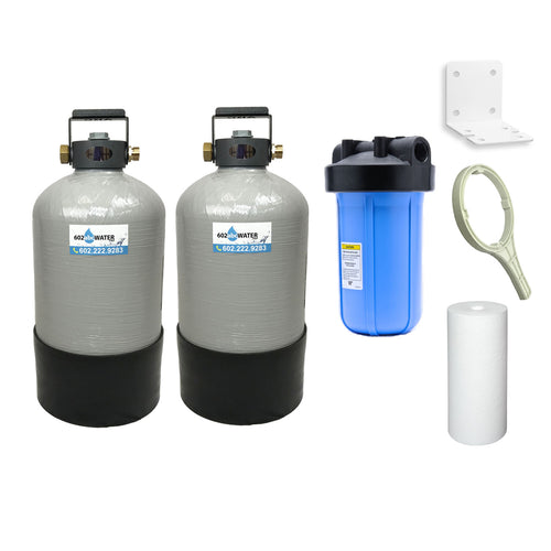 TRIPLE COMBO - Portable Water Softener 16,000 Capacity with Carbon Filtration (GAC) & Big Blue Sediment Filtration - 10x18
