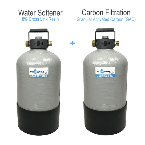 COMBO - Portable Water Softener 16,000 Capacity with Carbon Filtration (GAC) - 10x18