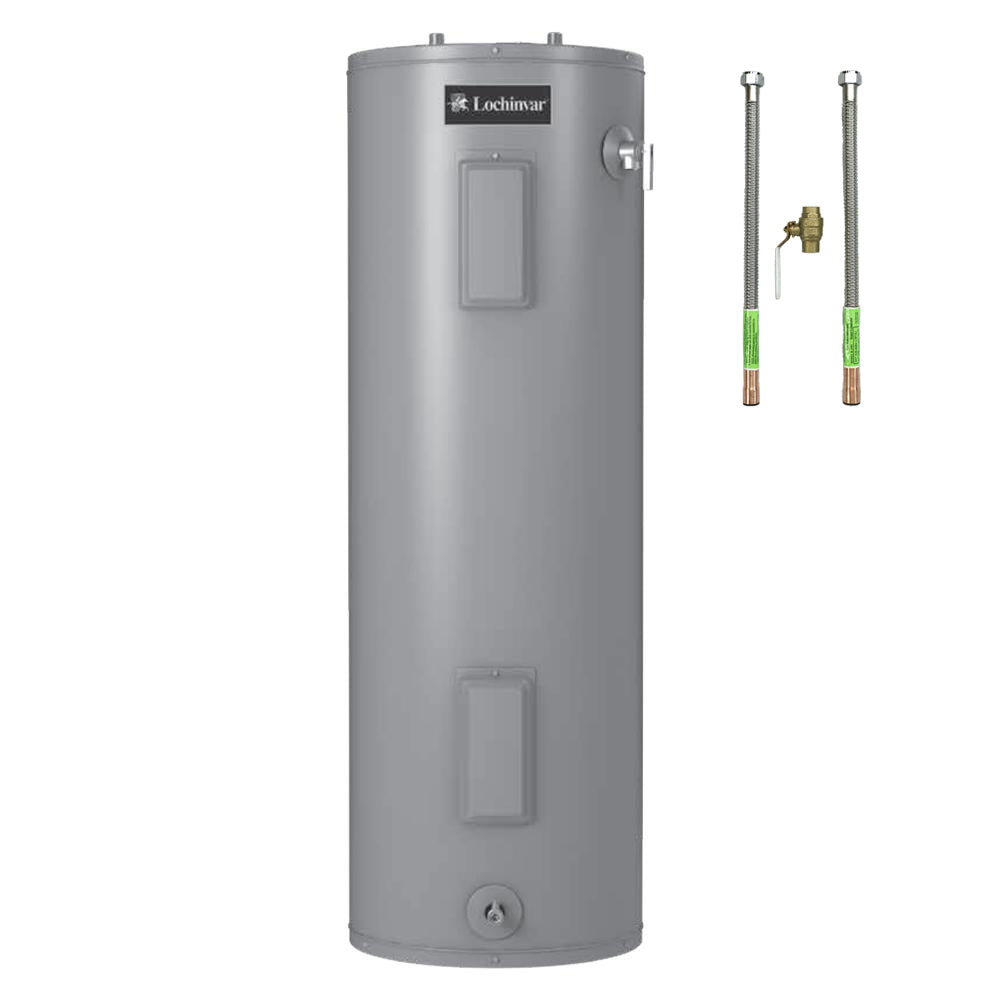 50 Gallon Electric Water Heater (Medium) by Lochinvar Includes Water Heater Connectors & Brass Ball Valve - FREE SHIPPING