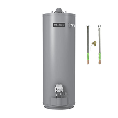 40 Gallon Gas Water Heater by Lochinvar Includes Water Heater Connectors & Brass Ball Valve - FREE SHIPPING