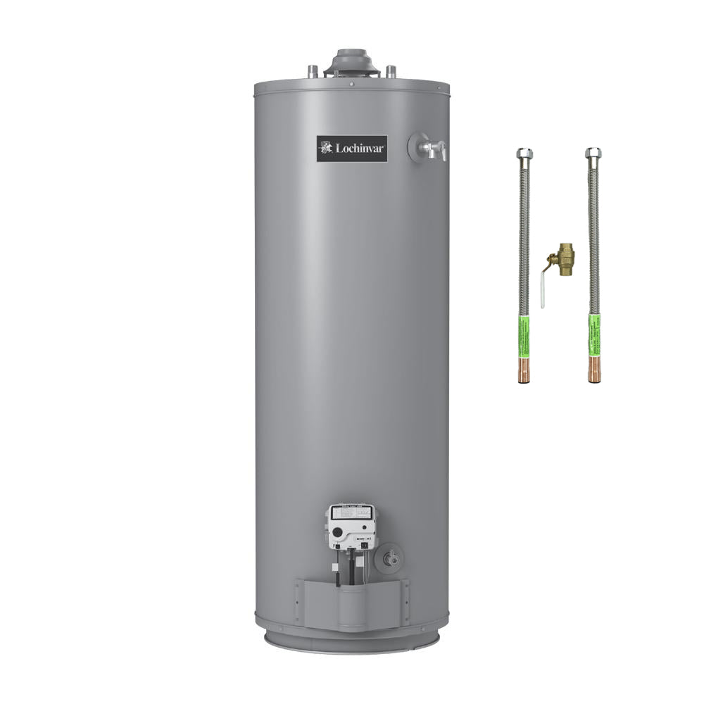 50 Gallon Gas Water Heater by Lochinvar Includes Water Heater Connectors & Brass Ball Valve - FREE SHIPPING