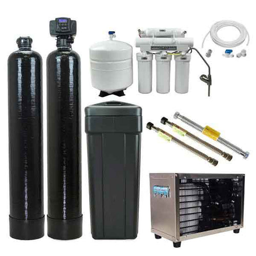 The Ultimate Home Water Filtration System - Fleck 5600sxt Water Softener + Upflow Carbon + 75 gpd Drinking Water RO + A Chiller Daddy