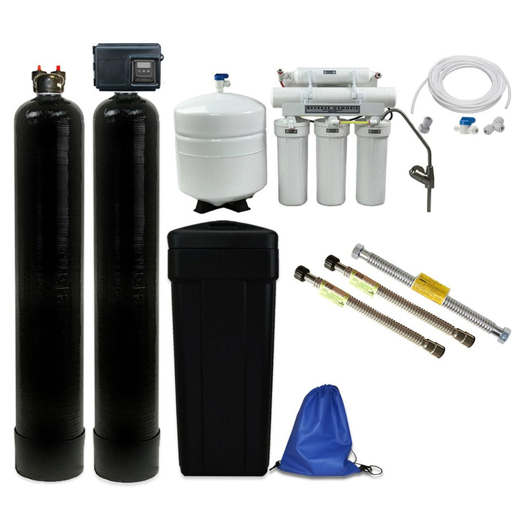 ABCwaters Built Fleck 2510SXT Water Softener Combined with a Whole House Upflow Carbon Filtration & RO System - Includes Water Connectors & Ice Line Kit