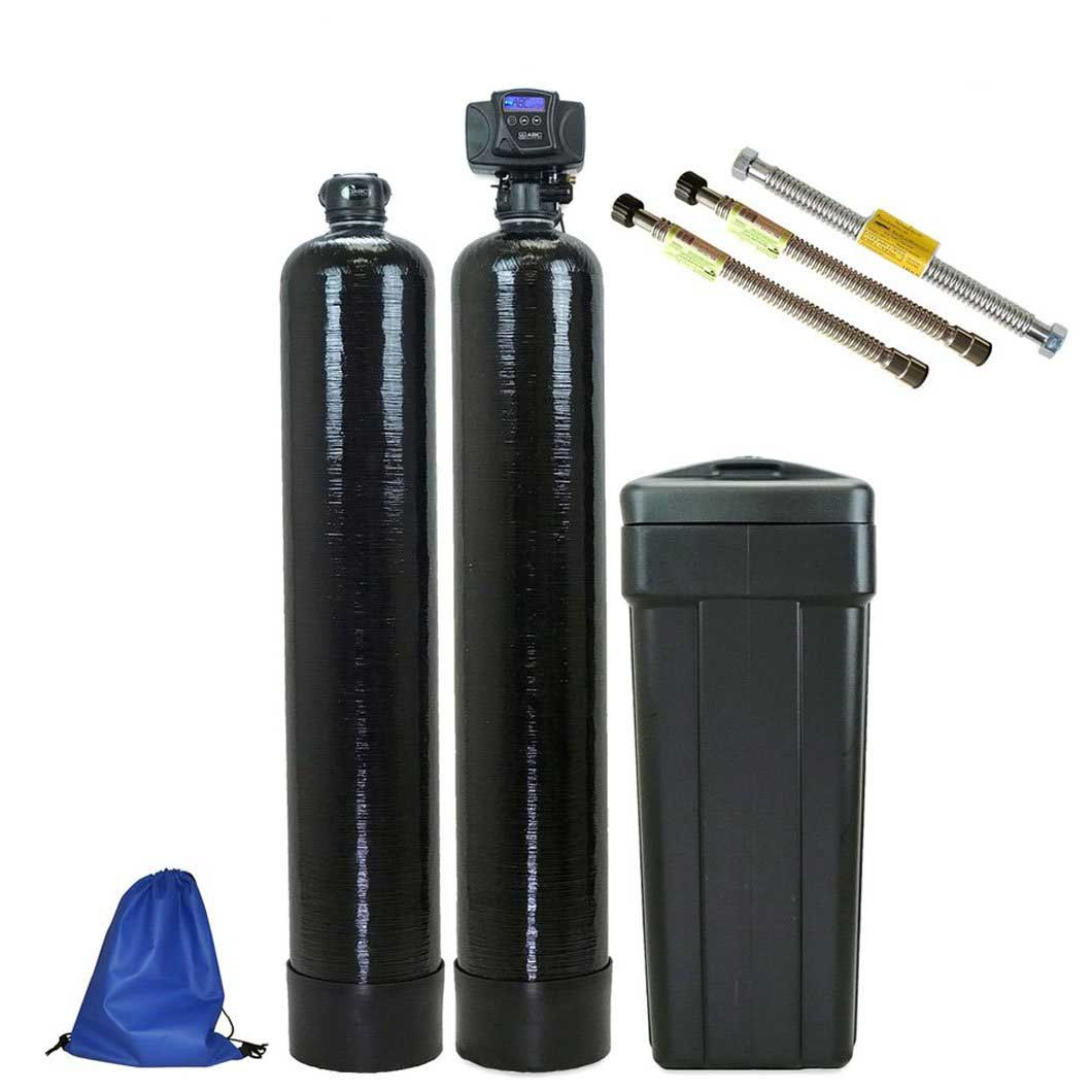 ABCwaters Built High Efficiency Fleck 5600SXT Water Softener with Purolite SST-60 Resin and an Upflow Carbon Filter System - Includes Water Connectors