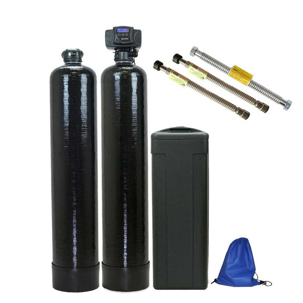 SPACE SAVER MODEL - ABCwaters Built Fleck 5600SXT Water Softener with an Upflow Carbon Filter System - Includes Water Connectors