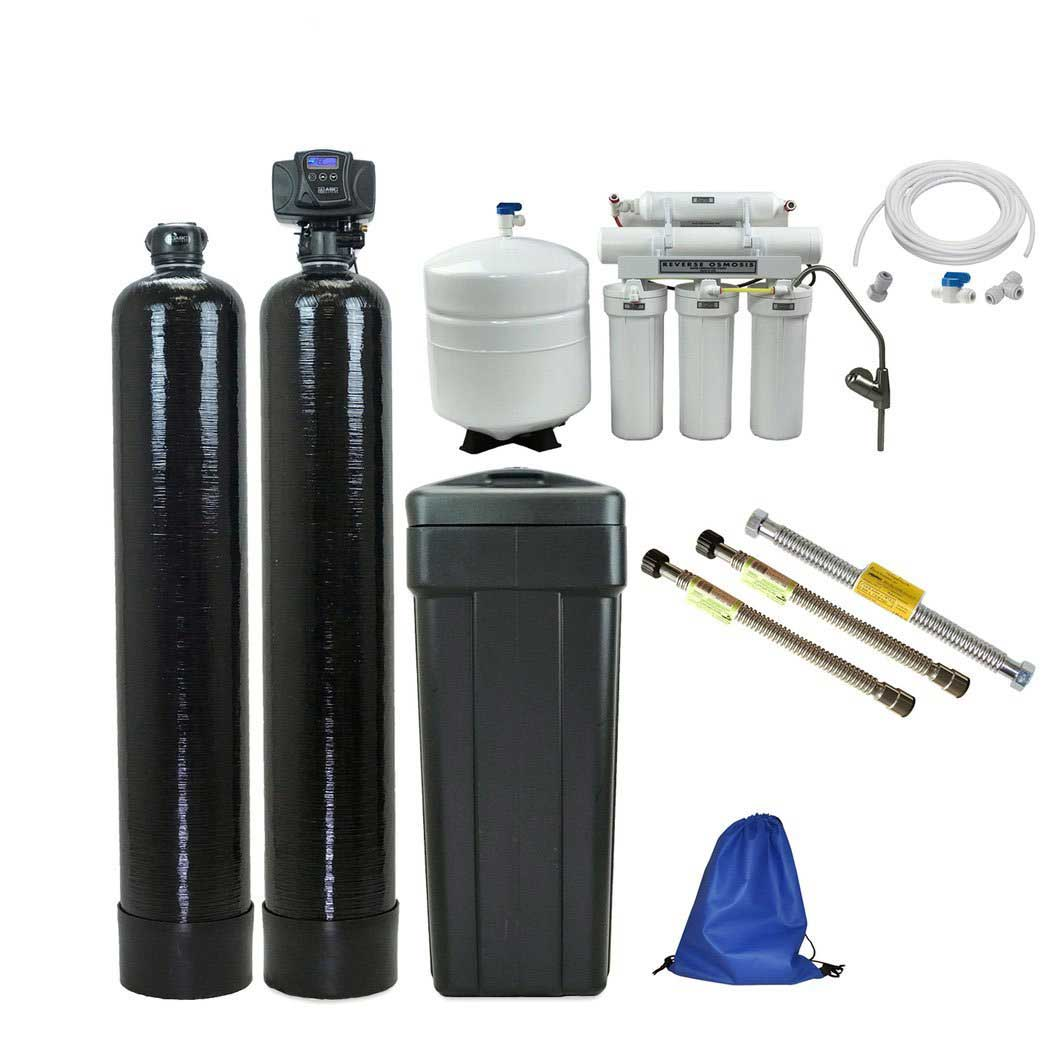 The Ultimate Home Water Filtration System - Fleck 5600sxt Water Softener with SST-60 Resin + Upflow Carbon + 75 gpd Drinking Water RO + Water Connectors + Ice Line