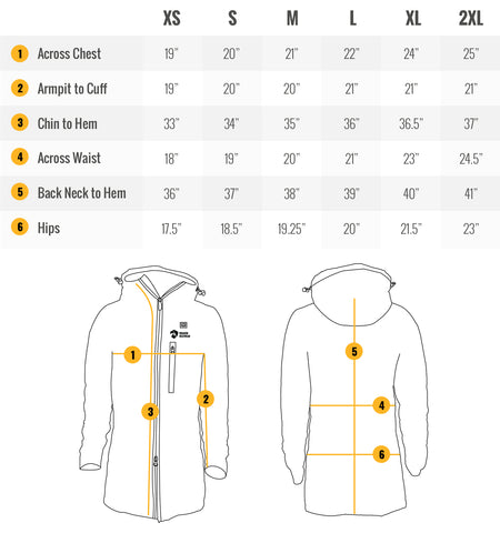 Delphyne Women's Heated Jacket Sizing Guide