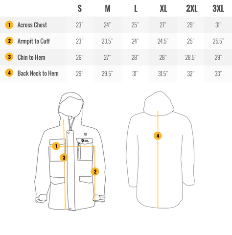 Fang Mens Snowboard Heated Jacket Sizing Guide