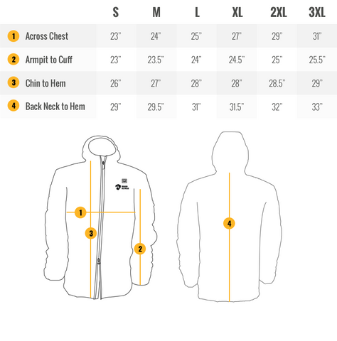 Kaiser Mens Heated Jacket Sizing Guide