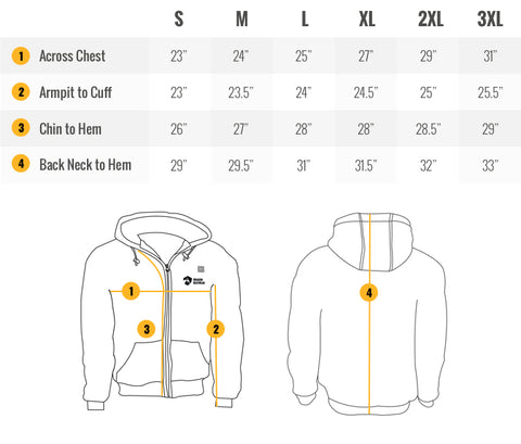 Hydra Mens Heated Hoodie Sizing Guide