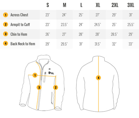 Wyvern Mens Camo Heated Jacket Sizing Guide