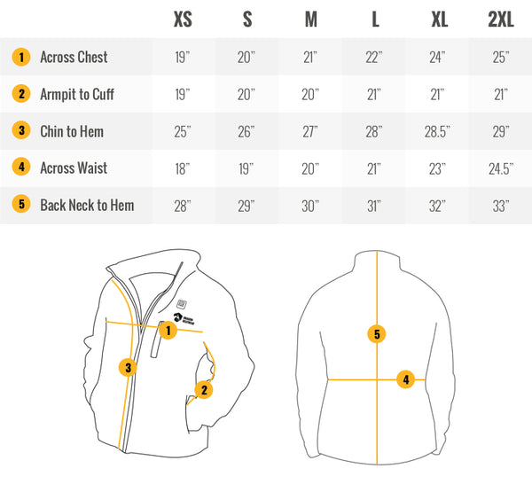Wyvern Women's Heated Jacket Sizing Guide