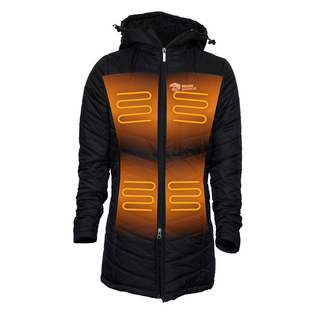 Delphyne Womens 5 Zone Heated Puffer Jacket - Dragon Heatwear, Heated Gear