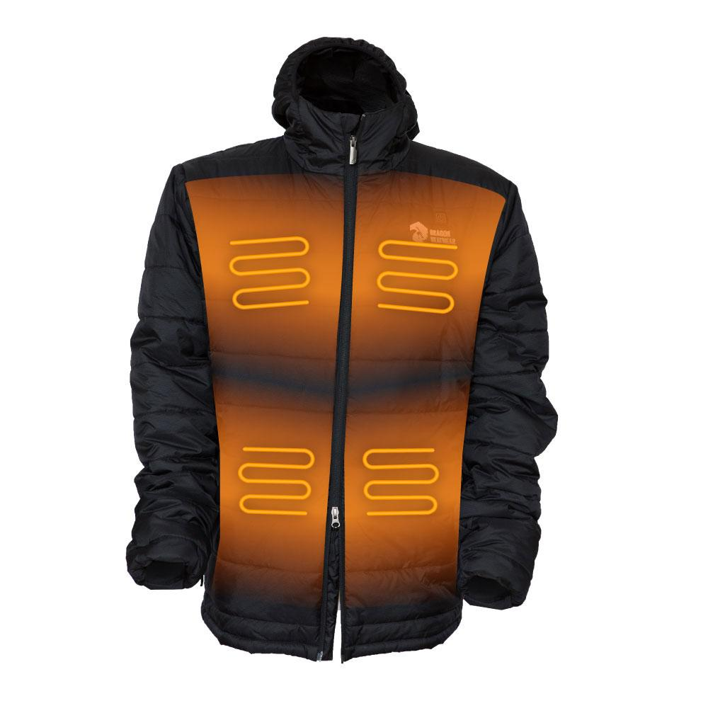Kaiser Mens 5 Zone Heated Puffer Jacket - Dragon Heatwear, Heated Gear