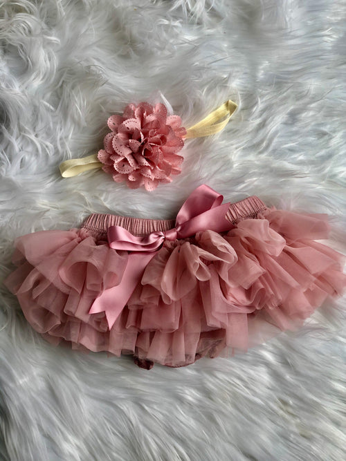 Dusty Rose Ruffle Tutu Bloomer w/ Matching Headbands