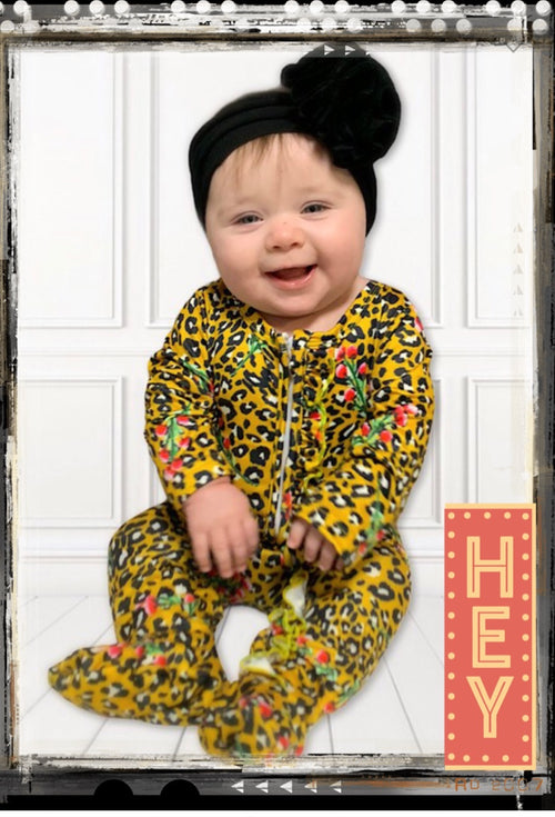 Leopard Baby Footed Onesie.